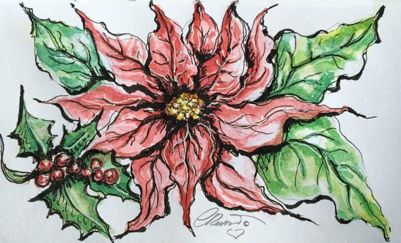 POINSETTIA Day 11 - Original Watercolor ©Carolina Russo