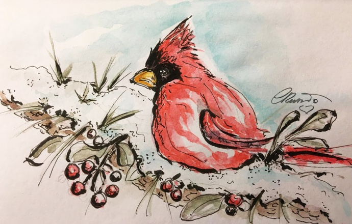 RED BIRD Day 7 - Original Watercolor ©Carolina Russo