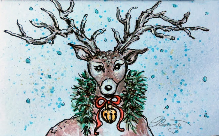 REINDEER  Day 22 - Original Watercolor ©Carolina Russo