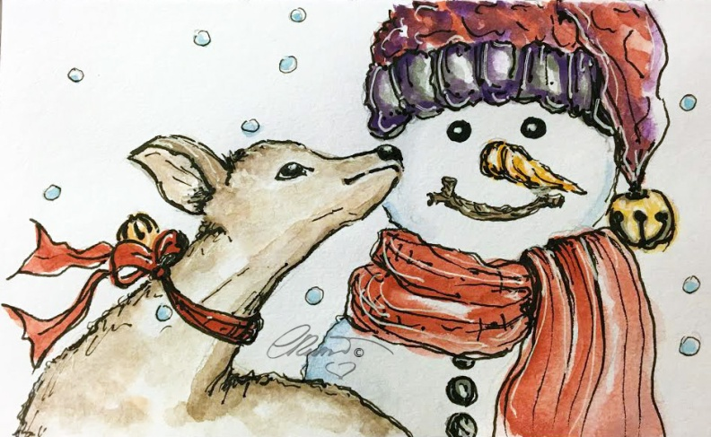 SNOWMAN Day 17 - Original Watercolor ©Carolina Russo
