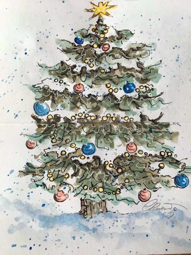 CHRISTMAS TREE Day 15 - Original Watercolor ©Carolina Russo