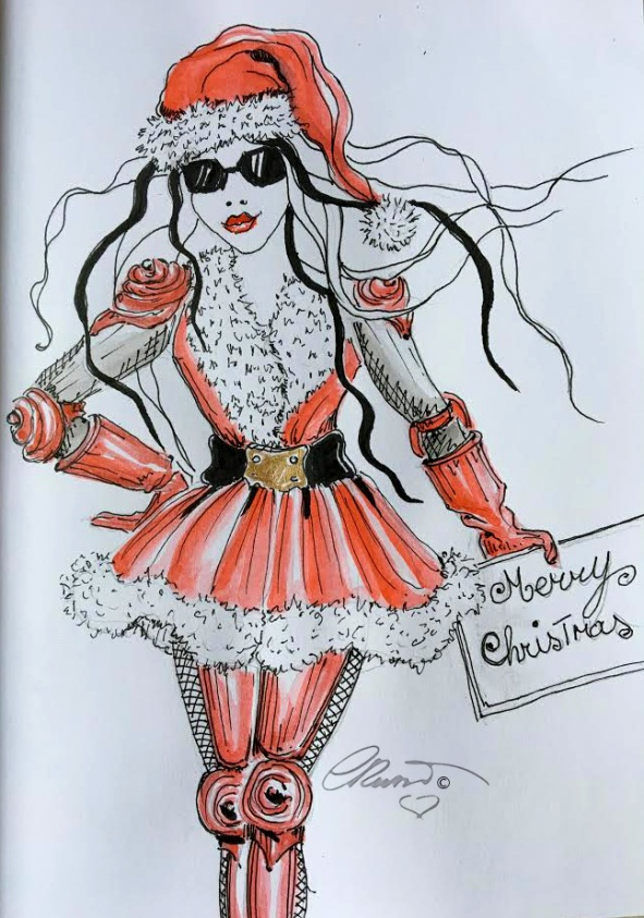 "Ylia Adventures ""Merry Christmas"" - Watercolor ink ©Carolina Russo"