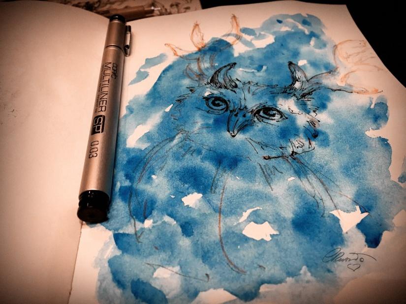 Blue Owl - Original Watercolor Ink Sketch ©Carolina Russo