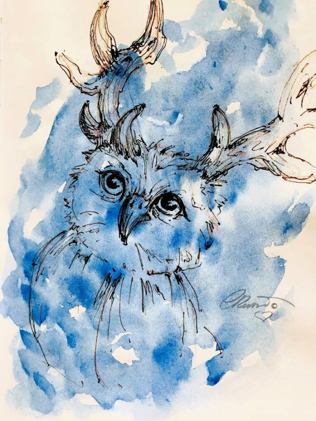 Blue Owl - Original Watercolor Ink Sketch ©Carolina Russo
