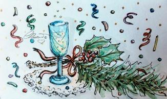 CHAMPAGNE Day 31 - Original Watercolor ©Carolina Russo