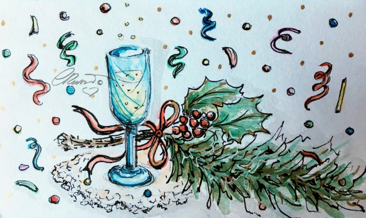 CHAMPAGNE Day 31 - Original Watercolor ©Carolina Russo