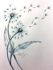 Dandelions Magic Wishes - Original watercolor ©Carolina Russo