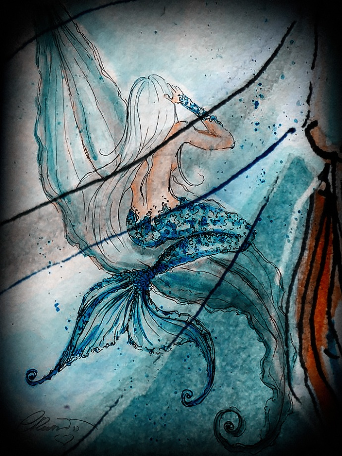 Into The Deep Sea - Digital Art watercolor ©Carolina Russo