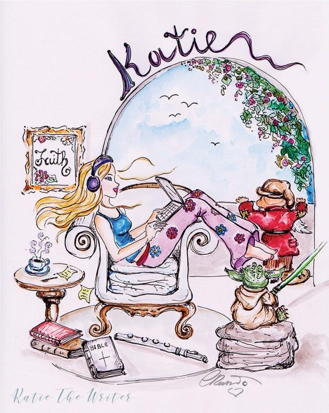 Katie The Writer - Original watercolor ©Carolina Russo