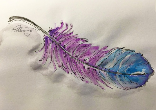 A Pink Feather - Original Watercolor ©CarolinaRusso
