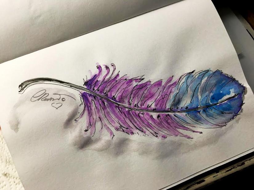 A Pink Feather - Original Watercolor ©CarolinaRusso