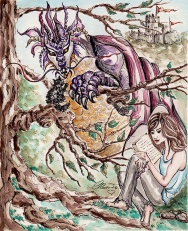 Dragons And Castles - Original Watercolor ©Carolina Russo