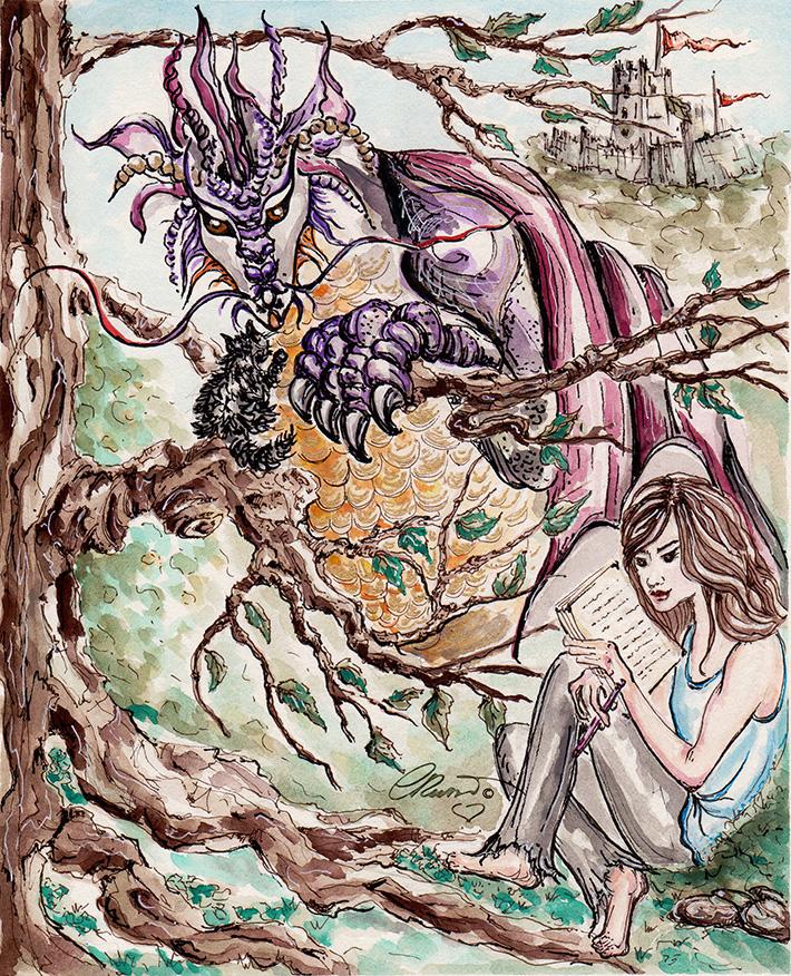 Dragons And Castles - Original Watercolor ©Carolina Russo
