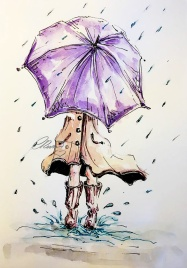 Umbrella - Original Watercolor ©CarolinaRusso