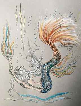 Wander In The Abyss Mermaid- Original Watercolor ©Carolina Russo