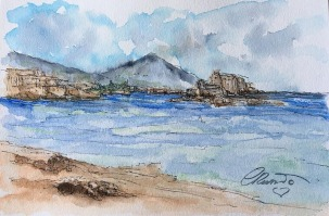 Day 11 - Summer Views (Naples - Italy) - Original Watercolor ©Carolina Russo