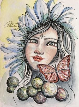 Day 15 - Daydreaming - Original Watercolor ©Carolina Russo