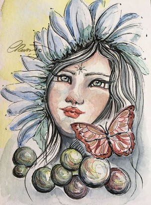 Day 15 - Daydreaming - Original Watercolor ©Carolina Russo