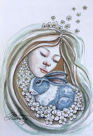 Day 18 - Eternal Embrace (Furry Friends) - Original Watercolor ©Carolina Russo