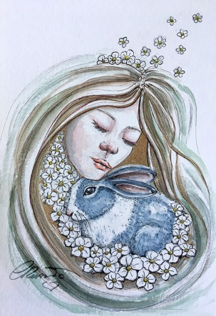 Day 18 - Eternal Embrace (Furry Friends) - Original Watercolor ©Carolina Russo