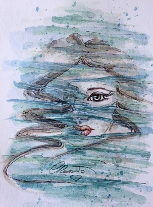 Day 19 - By The Pool - Original Watercolor ©Carolina Russo