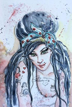 Day 23 - Amy Winehouse - Original Watercolor ©Carolina Russo