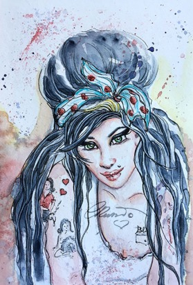 Day 23 - Amy Winehouse - Original Watercolor ©Carolina Russo