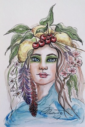 Day 25 - Cherry, Lemon And Turquoise - Original Watercolor ©Carolina Russo