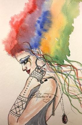 Day 29 - Rainbow Goddess - Original Watercolor ©Carolina Russo
