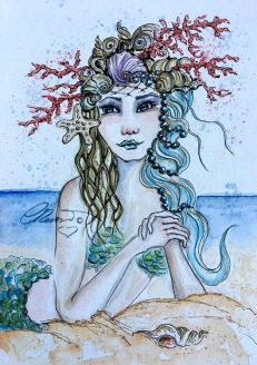 Day 3 - Sand & Seashells - Original Watercolor ©Carolina Russo