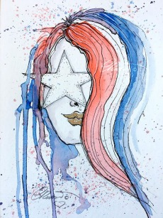 Day 4 - Red, White and Blue - Original Watercolor ©Carolina Russo