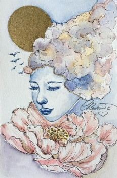 Day 5 - Summer Skies - Original Watercolor ©Carolina Russo
