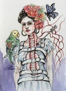 Day 7 - Frida Kahlo Portrait (Off Prompt)- Original Watercolor ©Carolina Russo