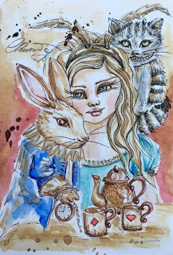 Coffee Painting Week 3 - Alice In Wonderland - Original Coffee and Watercolor ©Carolina Russo