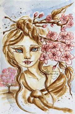 Coffee Painting Week 1 - Cherry Blossom Tree - Original Coffee and Watercolor ©Carolina Russo