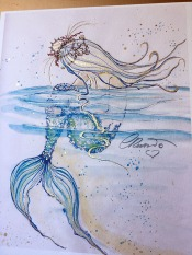 Floating Mermaid - Hand Embellished Print -Original Watercolor ©Carolina Russo