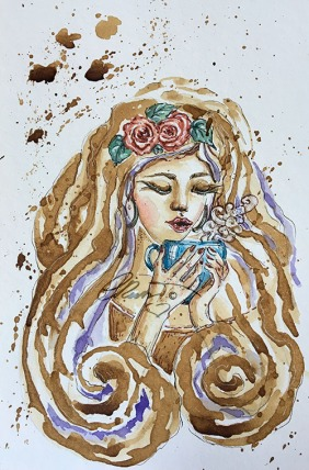 Coffee Painting Week 2 - Favorite Coffe /Tea Mug - Original Coffee and Watercolor ©Carolina Russo