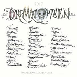 Drawlloween 2017 Prompt List