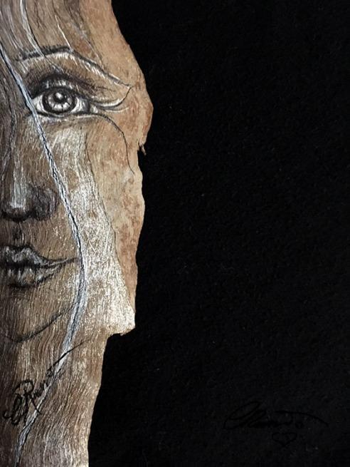 Ink Drawing on Eucaliptus Bark - ©Carolina Russo
