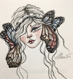 Butterfly Child - Watercolor Ink Painting ©CarolinaRusso