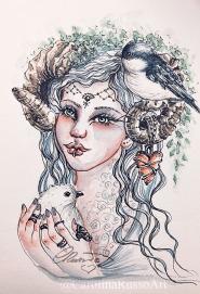 Princess Cordelia - Watercolor ink painting ©CarolinaRusso