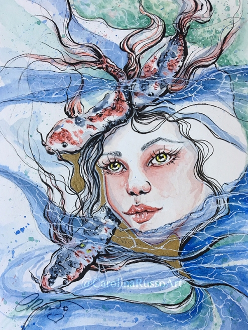 Draw This In Your Style Challenge by Kelogsloops - Watercolor Ink Painting ©CarolinaRusso