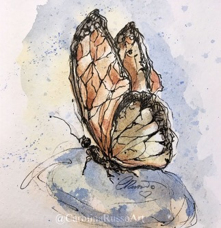 Painted Lady Butterfly - Watercolor Painting ©CarolinaRusso