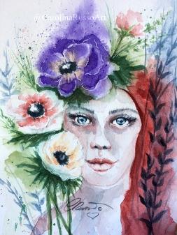 Gaia's Anemones - Watercolor Painting ©CarolinaRusso