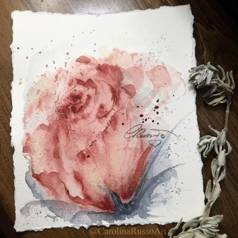 Just A Rose... - Watercolor Painting ©CarolinaRusso