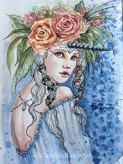 Princess Isadora - Watercolor ink painting ©CarolinaRusso