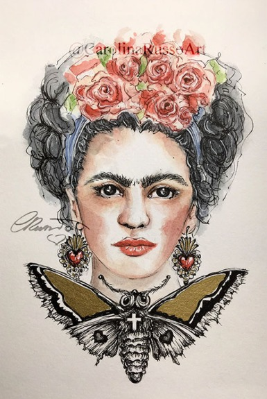 Frida Kahlo - Watercolor Painting ©CarolinaRusso