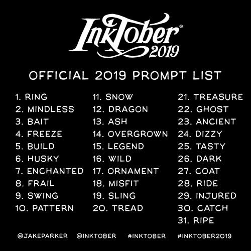 INKTOBER 2019 – Official Prompt List!