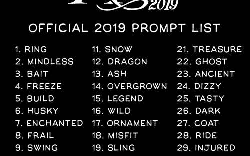 Inktober List 2020.Inktober 2019 Official Prompt List Yesterdayafter