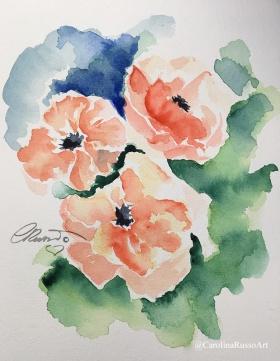 Day 1 Poppies - Watercolor ©CarolinaRusso